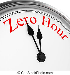 Zero hour on a clock. 3d illustration isolated on white...