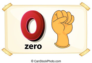 Zero - Illustration of a flash card number zero