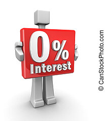 Zero interest business concept - Businessman holding a zero...