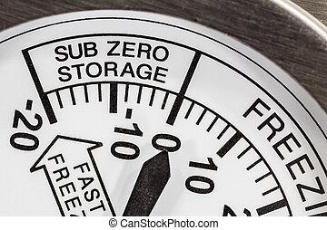 zero, magazynowanie, sub-, chłodnia, termometr
