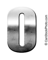 chrome vintage number zero on white background, Complete set of numbers available in this portfolio