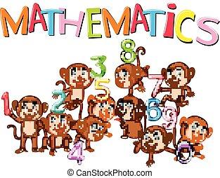 zero, numero, scimmie, uno