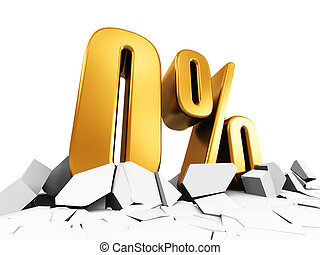 Zero or 0 percent sale and discount advertisement concept