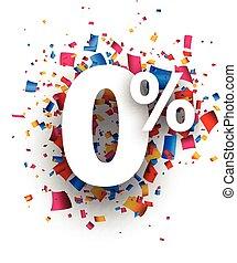 Zero percent 0% sign.