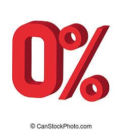 Zero percent icon, cartoon style