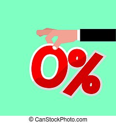 Zero Percent Interest Vector Illustration