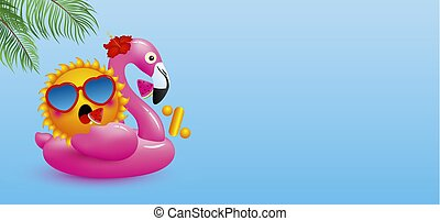 Zero percent or 0% design of sun on flamingo inflatable with watermelon ice cream and tropical leaves on blue background minimal summer vector illustration