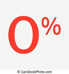 Zero percent sign icon vector illustration