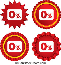 Zero percent sign icon. Zero credit symbol. Best offer. Red stars stickers. Certificate emblem labels. Vector