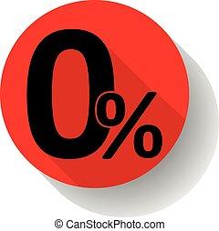 Zero percentaje red vector