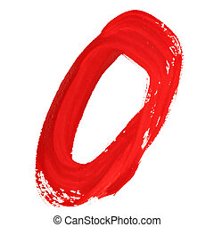 Red handwritten numerals - Zero - Red handwritten numerals...
