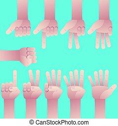 zero, set, nove, conteggio, mani