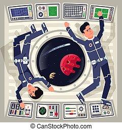 zero, statek kosmiczny, samica, powaga, astronauci, samiec