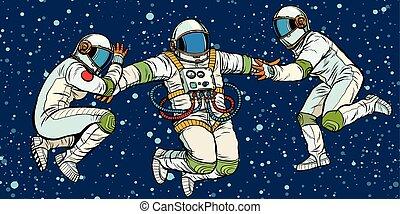 zero, trzy, powaga, astronauci, przestrzeń