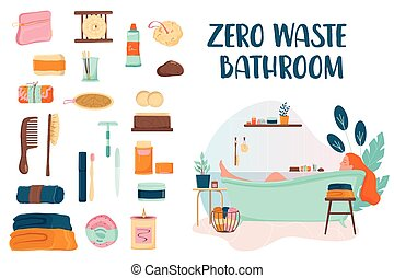 Zero waste bathroom set. Collection of eco elements for people