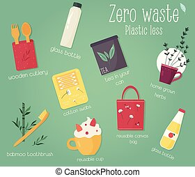 Zero Waste concept design with elements. Waste less life illustration.