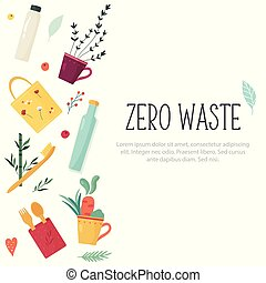 Zero Waste concept design with elements.