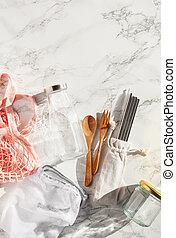 zero waste eco friendly concept. reusable cotton bag, ...