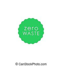 Zero waste green circle with wavy edge vector icon. Eco label, green emblem. Stock .