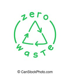 Zero waste handwritten text with green recycling sign isolated on white background. Eco label, green emblem. Vector illustration.