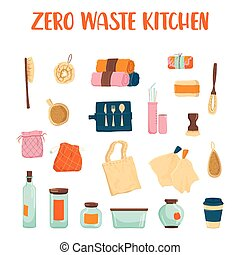 Zero waste kitchen set. Collection of eco elements for people who