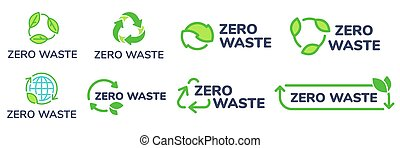 Zero waste labels. Green eco friendly label, reduce wastes and recycle icon with plant leaves vector set