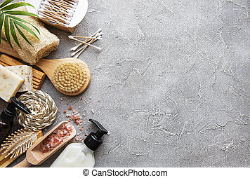 Zero waste natural cosmetics products on concrete background...