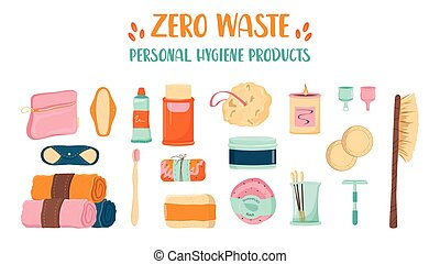 Zero waste personal hygiene set. Collection of eco elements for