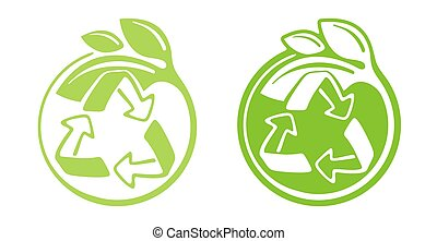 Zero waste recycling emblem with green leaves