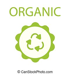 Green rubber stamp with text Organic natural product icon isolated on white background. Vector