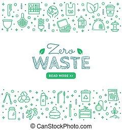 Zero waste square banner with line icons. Vector. - Zero ...