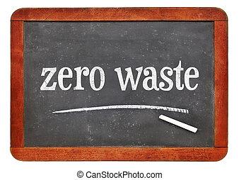 zero waste text on blackboard