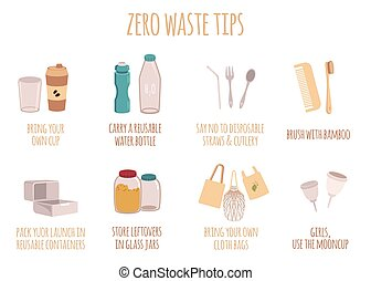 Zero waste tips for eco life with text in a flat style. Isolated vector illustration on white background.
