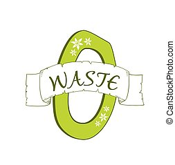 zero waste trendy green logo, symbol, sign or design element...