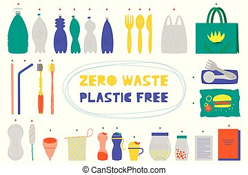 Zero waste vector illustrations set