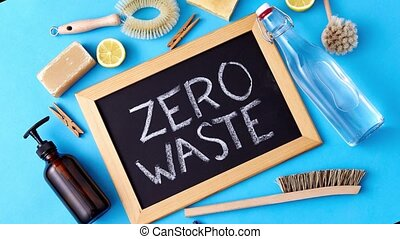 zero waste words on chalkboard and cleaning stuff - ...