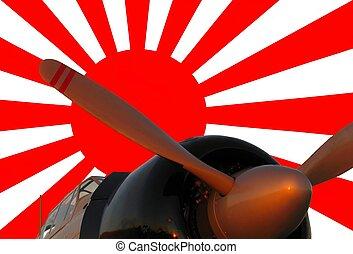 zero, wojna, bandera, japończyk