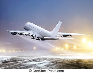 zero-zero weather - airport and white plane at non-flying...