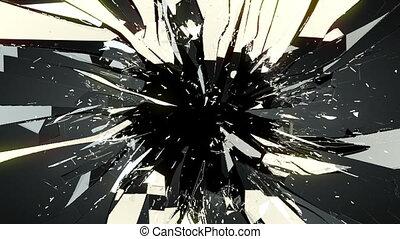 zerschlagen, rissig, schwarz, glas