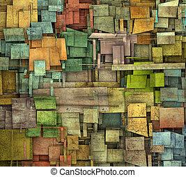 zersplittert, mehrfach, farbe, quadrat, fliese, grunge,...