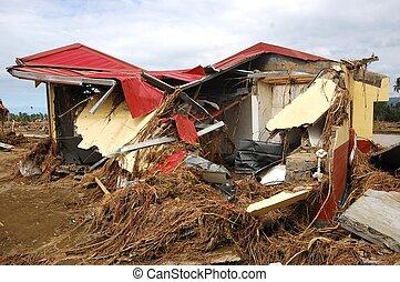 zerstörter , haus, taifun, flut