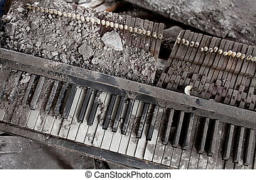 zerstörter , klavier, explosion