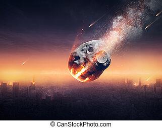 zerstörter , stadt, meteorregen