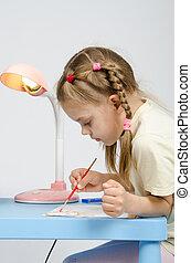 zes, jaar oud, meisje, met, enthousiasme, verlekkeert, verven