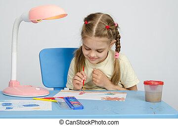 zes, jaar oud, meisje, op, een tekening, les