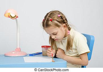 zes, jaar oud, meisje, scherp, op, tekening