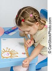 zes, jaar oud, meisje, verlekkeert, een, verf , iets, in, de, afbeelding