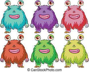 zes, kleurrijke, monsters