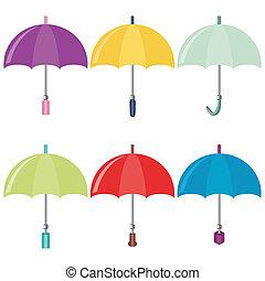 zes, paraplu's, op wit, achtergrond