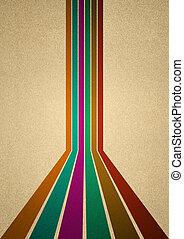 zes, retro, lijnen, in, anders, kleuren